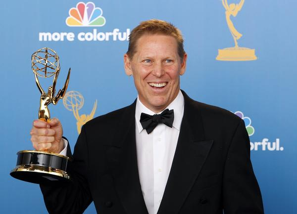 Bucky Gunts with his fourth Emmy for Olympics coverage on NBC.