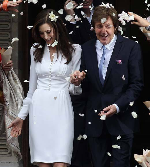 The music legend and his longtime girlfriend tied the knot at the Old Marylebone Town Hall Oct. 9, 2011, in London. It was the same location where the former Beatle wed his first wife, Linda, in 1969.