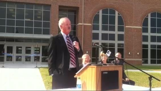 Blue Ridge Community and Technical College President Peter G. Checkovich speaks before the ribbon cutting ceremony.