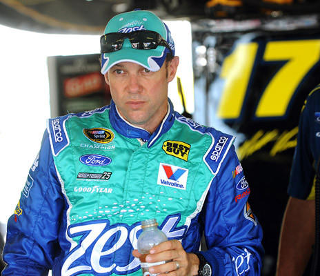 Matt Kenseth driver of the #17 Zest Ford takes a break during the first practice for the 39th Annual Pennsylvania 400 at Pocono Raceway Friday afternoon.