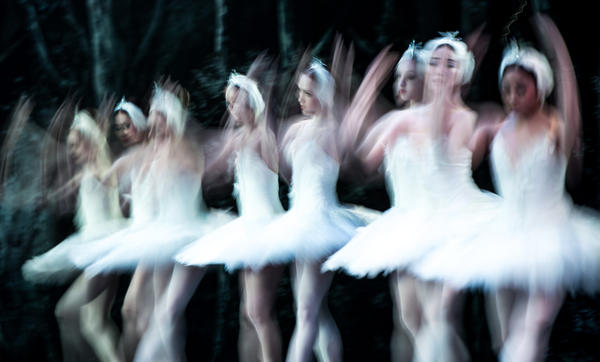 Dancers of the English National Ballet perform during a dress rehearsal of Swan Lake at the Coliseum on August 3, 2012 in London, England.
