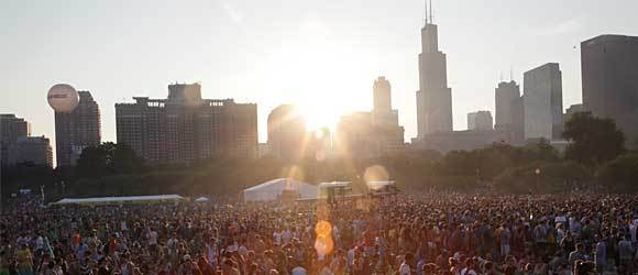 Concert goer's wait for M83 to perform at Lollapalooza Friday August 3, 2012.