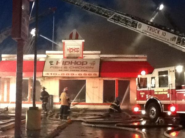 Arson detectives investigating fire at chicken restaurant for Hip hop fish and chicken baltimore md