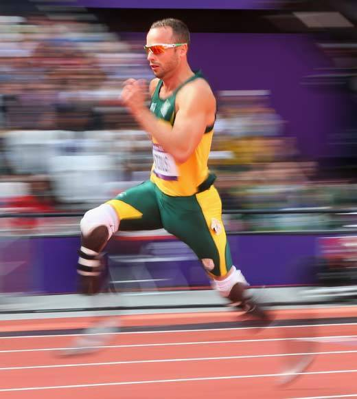 2012 Summer Olympics Best and Worst moments: Oscar Pistorius, a double-amputee who runs on carbon-fiber blades, ran a 45.44 in his heat of the mens 400m. It was good enough for second place in the heat and to qualify him for Sundays semifinals. Unfortunately, Pistorius did not advance to the finals. But its still a remarkable story.  Pistorius, who was born without fibulas and had his legs amputated below the knee before he was a year old, has had to undergo extensive testing in his home country to prove his carbon blades arent giving him an unfair advantage over runners with regular legs. Once it was shown that that was not the case, he was put on the South African national team.  -- Andrea Reiher, Zap2it