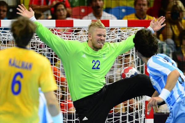 Sweden's goalkeeper Johan Sjostrand tries to make a save during the men's preliminary Group A handball match Sweden vs Argentina for the London 2012 Olympics Games.