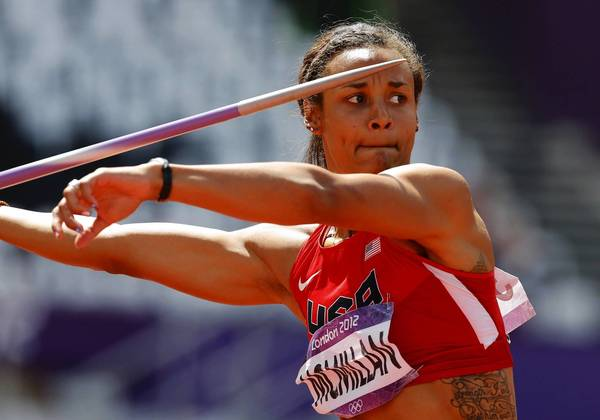 Chantae McMillan of the U.S. competes in the women's heptathlon javelin throw Group B event during the London 2012 Olympic Games at the Olympic Stadium.