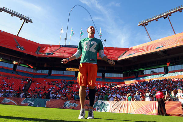 Dolphins wide receiver Brian Hartline sat out the team's first scrimmage Sun Life Stadium