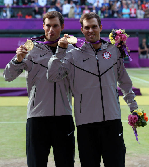 London 2012: Team USA's Gold Medalists: Bob and Mike Bryan won gold in the tennis mens doubles on August 4. The twins previously took bronze in the event in the 2008 Beijing Olympics and also competed in the 2004 Athens Olympics.