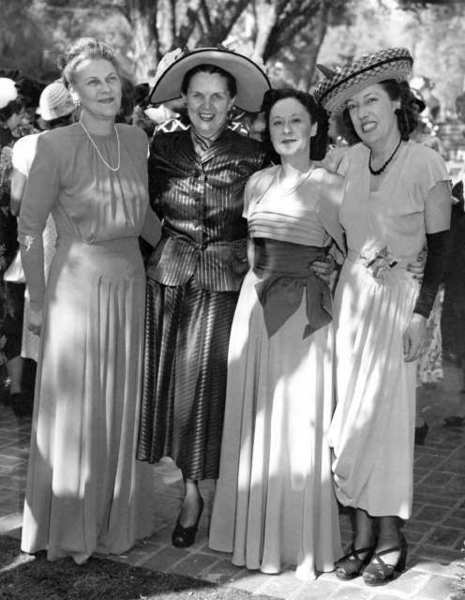 From left, Valley Knudsen, Ruby Barnett, founder of the Chevy Chase Estates Garden Club, Mrs. Phenix and Mrs. Archer at a 1948 garden club tea. The event was held at the home of Mrs. Phenix, who lived in the 2400 block of Chevy Chase Drive.