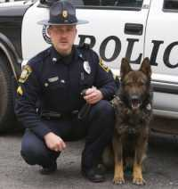 Berkeley Springs Police Chief Craig Pearrell with his K-9 partner, Butch.