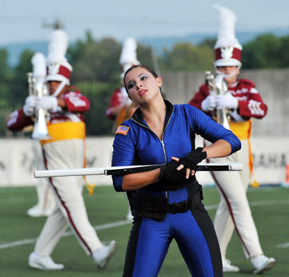 Lehigh County based Cadets 2 colorguard Caitie Simmons, 17, of Etters, Pa.. performs during the DCI Eastern Classic held at J. Birney Crum Stadium in Allentown on Saturday. Drum Corps International is more then three decades old and The annual Drum Corps International Tour is made up of more than 100 events throughout North America.