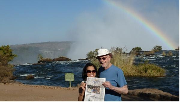 Chuck and Carmen Ward at Victoria Falls in Zambia. They visited there in June, as part a trip to South Africa.