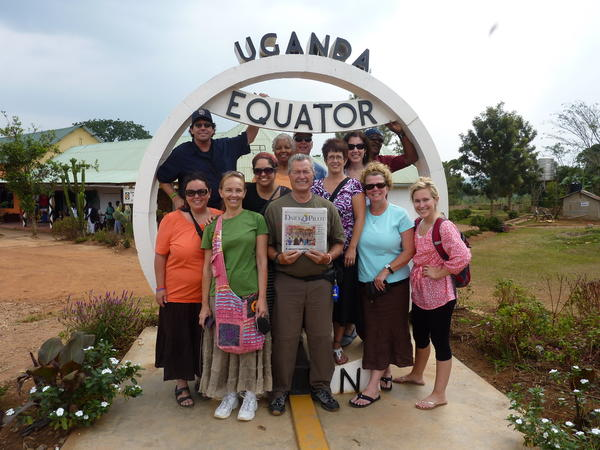 The Uganda Missions Team from The Crossing Church in Costa Mesa visits the Equator in Uganda on July 23.