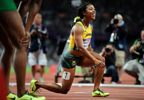 Jamaica's Shelly-Ann Fraser-Pryce is all smiles after winning the 100-meter race.