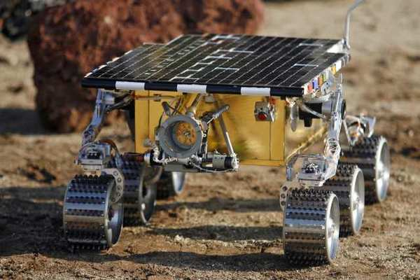 A test double for the Mars rover Sojourner at Jet Propulsion Laboratory's Mars Yard.