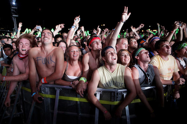 Photo: Fans cheer as the red hot chili peppers perform at Lollapalooza on Saturday.