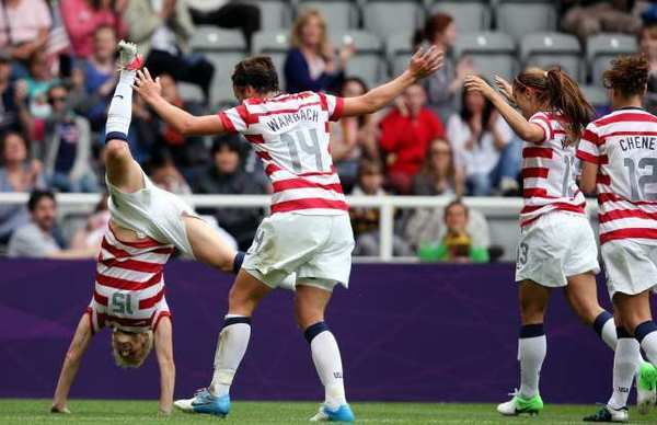 The U.S. team prepares to somersault after scoring against New Zealand on Friday.