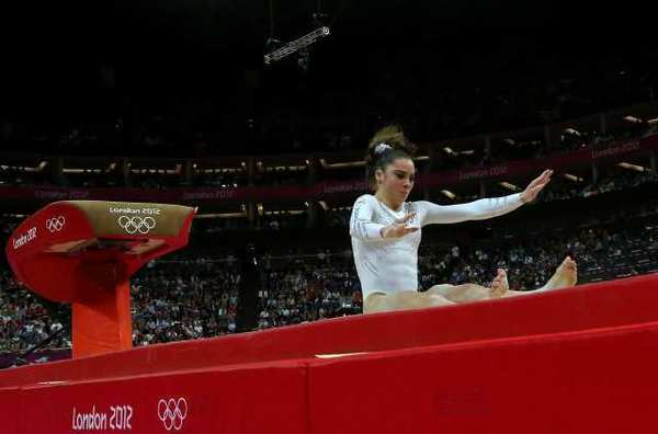 McKayla Maroney fails to land her dismount in the women's vault final.