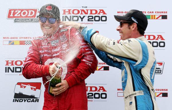 Scott Dixon celebrates his win in the Honda Indy 200 at Mid-Ohio.