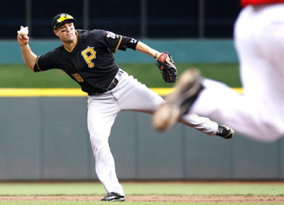 Pittsburgh Pirates second baseman Neil Walker throws to first base in the second inning during on Sunday.