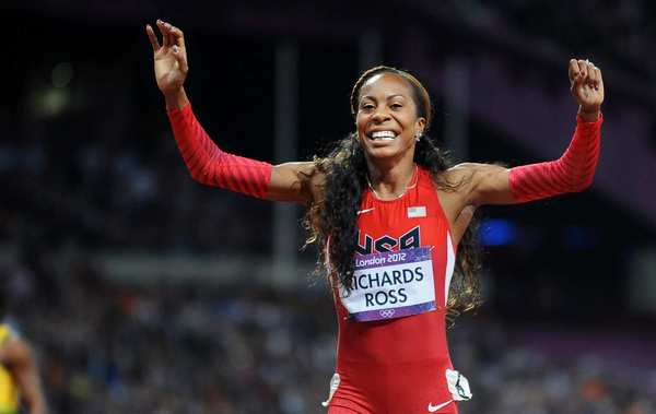 Team USA's Sanya Richards-Ross celebrates after winning the gold medal in the 400 meters at the 2012 London Olympics. She won bronze in the event at Beijing.