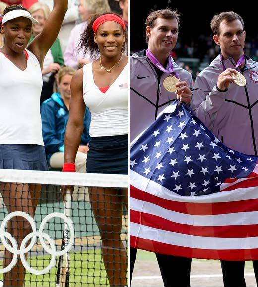 2012 Summer Olympics Best and Worst moments: The Williams sisters and Bryan twins made it a sweep for the U.S. in tennis doubles gold medals at the 2012 Olympic Games. This is the first mens doubles gold medal for the U.S. since 1988. However, the U.S. women have won doubles gold every year since tennis became an Olympic sport, except in 2004, when Serena couldnt play with Venus due to injuries.  -- Andrea Reiher, Zap2it