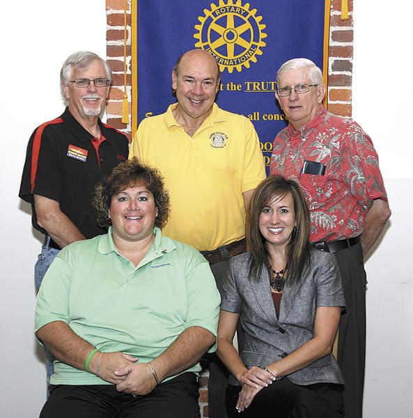 Rotary Club of Hagerstown-Sunrise officers include, seated, from left, Carmen Fox and Jodi Blair. Standing, David Jordan, Al Smith and William Christoffel.