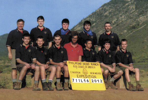 Front row, from left, Joe Dilosa, Kenny Shotting, Tim Larkin, Noah Smith (Philmont ranger), Cameron Smith, Porter Polcaro and Blake Foster. Back row, R. Scott Smith (lead adviser), Jack Goulet, Patrick Bibeau, Max Berman and Marc Berman.