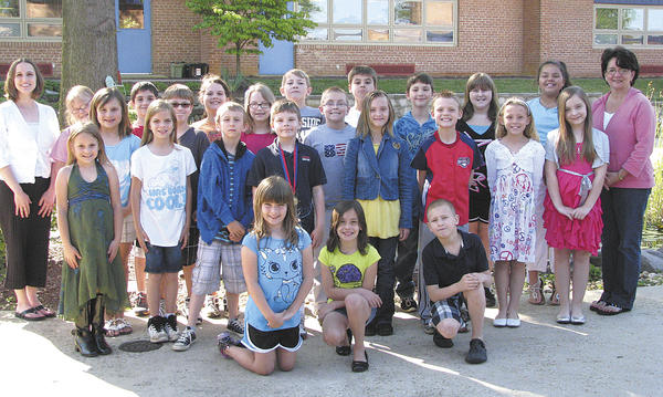 Williamsport Elementary School students include, front row, from left, Hope, Devan and Trentin. Row two, Jasmine, Victoria, Kamiron, Thomas, Kierra, Mason, Rachael and Drayvin. Row three, Lakin, Nathaniel, Paige and Trevor. Row four, teacher Kelly Miller-Secrest, Shelby, Jacob, Faith, Rhett, Hunter, Logan, Treya, Sierra and Mrs. Kerns.issues, directions to the shelter and information about programs and services.