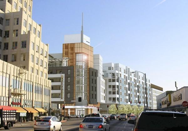 The apartment and retail development called Wilshire at La Brea will have shops and restaurants along both streets, according to the the Los Angeles contractor building the complex. It will include two swimming pools, a fitness center and 997 parking spaces in a subterranean garage. Above, a rendering of the project showing the view from La Brea heading south toward the intersection with Wilshire Blvd.
