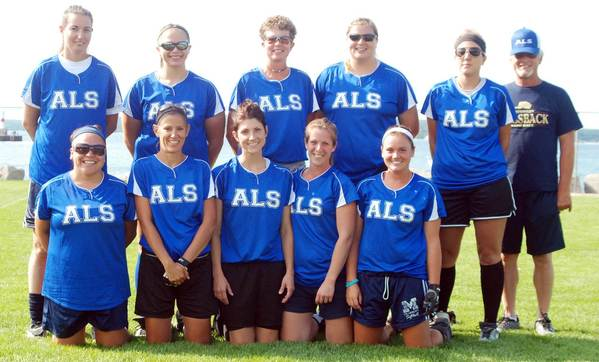ALS finished with a perfect 14-0 record to win the Petoskey Women's Softball League championship. Team members are front (from left) Marlene Gasco, Michelle Sysko, Jean Nadeau, Heather Gosiak, Lindsay Clemens; back, Casie Parker, Jade Kiogima, Stacy Barber-Walker, Kristi Lewis, Anna Burkhart, coach Tom Clemens. Absent, Carly Searles, Karley Becker, Ashley Graham.
