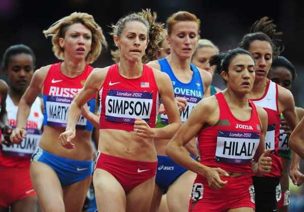 Jennifer Simpson of the United States competes in a women's 1,500-meter heat Monday.