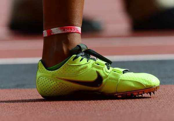The neon Nike shoe of U.S. 100-meters hurdler Chantae McMillan.
