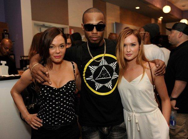 "(L to R) Actress Rose McGowan (""Scream""), rapper B.o.B and actress Kaylee DeFer (""Gossip Girl"") at the It's So Miami Oasis in the Hard Rock Hotel August 4, 2012."