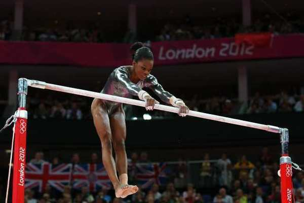 Gabrielle Douglas had a tough time on the uneven bars Monday.