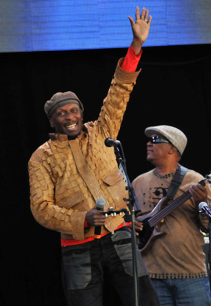 Jimmy Cliff, reggae star, performs with Paul Simon on stage July 15, 2012 in London, England.