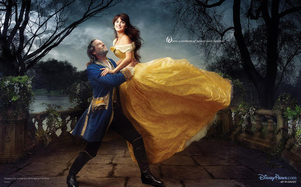 "Jeff Bridges and Penelope Cruz as The transformed Beast and Belle and ""Beauty and the Beast."""