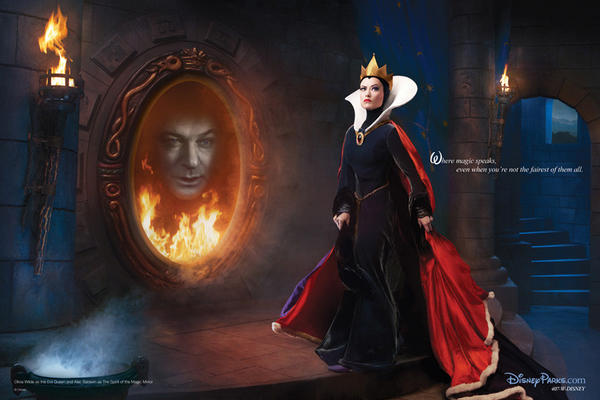 "Alec Baldwin and Olivia Wilde as the Magic Mirror and Evil Queen from ""Snow White and the Seven Dwarfs."""