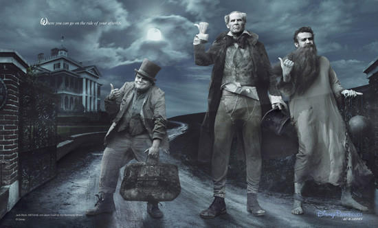 Jack Black, Will Ferrell and Jason Segal as hitchhiking ghosts from The Haunted Mansion.