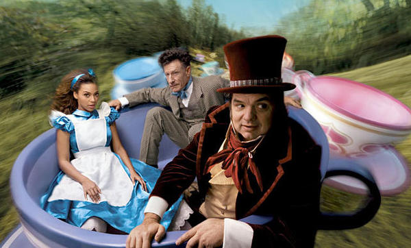"Beyonce as Alice, Lyle Lovett as the March Hair and Oliver Platt as the Mad Hatter from ""Alice in Wonderland."""