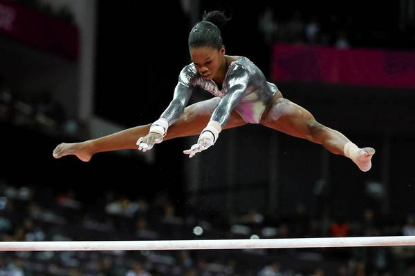 U.S. gymnast Gabrielle Douglas competes in the Artistic Gymnastics Women's Uneven Bars final on Day 10 of the London 2012 Olympic Games at North Greenwich Arena. Douglas failed to medal in the competition.