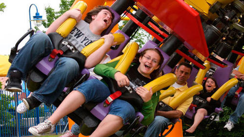 The 49-foot-tall Vekoma ride was the world's first junior inverted roller coaster when it opened in 2001.