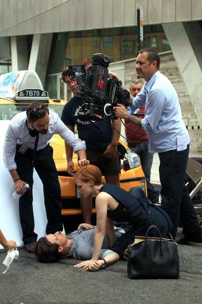 "Jessica Chastain and James McAvoy on location in Manhattan for the filming Ned Benson's ""The Disappearance of Eleanor Rigby."""