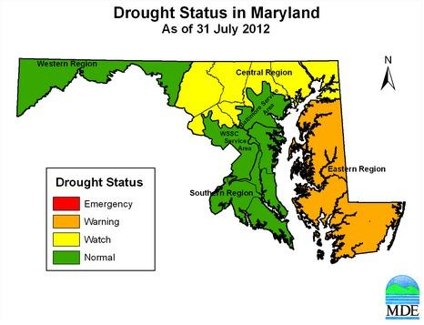 The Eastern Shore was placed under a drought watch as of July 31.