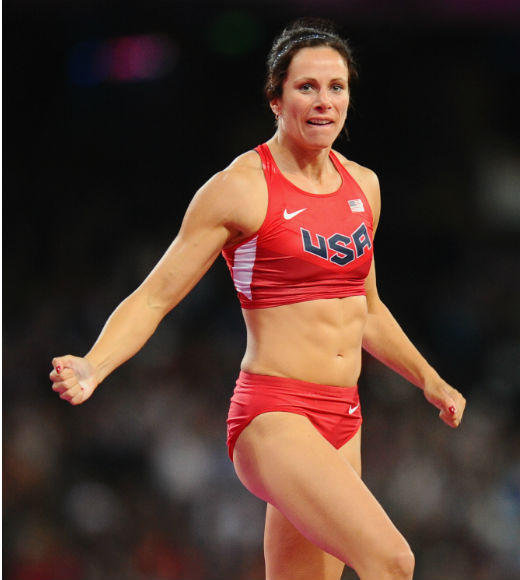 Jenn Suhr took gold in the women's pole vault on August 6. She won the silver medal in the event during the 2008 Olympics.