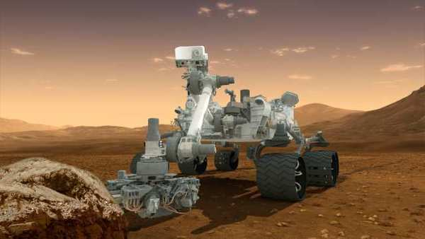 Artist's rendering of the Mars rover Curiosity, now on the surface of the Red Planet.