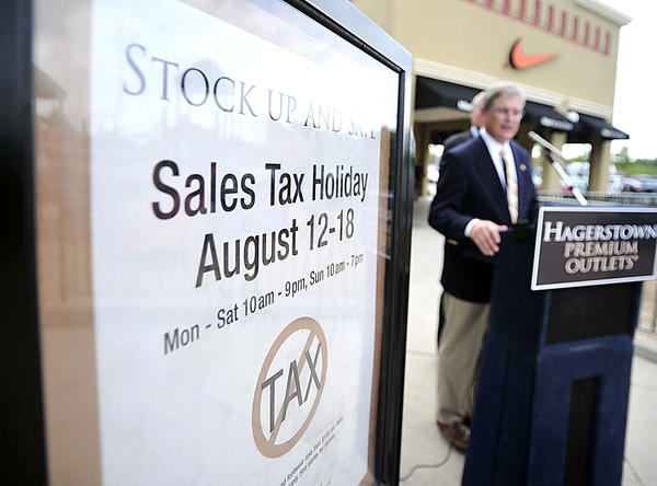 This year's sales tax-free week in Maryland runs from Aug. 12 to 18, during which there is no sales tax on footwear and apparel costing less than $100.
