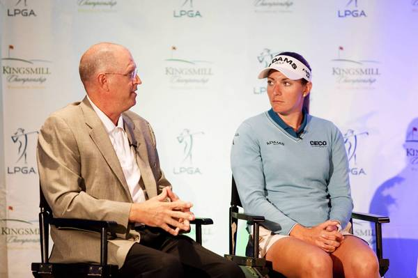 Wayne Nooe, Kingsmill Resort Vice President of Sports Operations, and LPGA Tour player Brittany Lang of Richmond attend media day for Kingsmill Championship in Williamsburg on Monday.