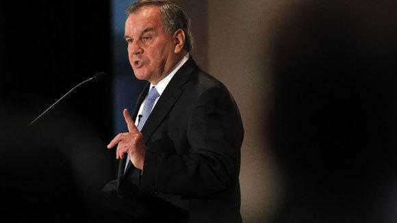Former Chicago Mayor Richard M. Daley gives a keynote speech at the National Exposition of Contract Furnishings gathering at the Holiday Inn Chicago Mart Plaza June 11. He discussed urban development.