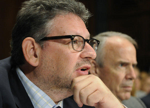 Lucian Grainge, chief executive of Universal Music Group, at a congressional hearing on the company's $1.9-billion bid for EMI.